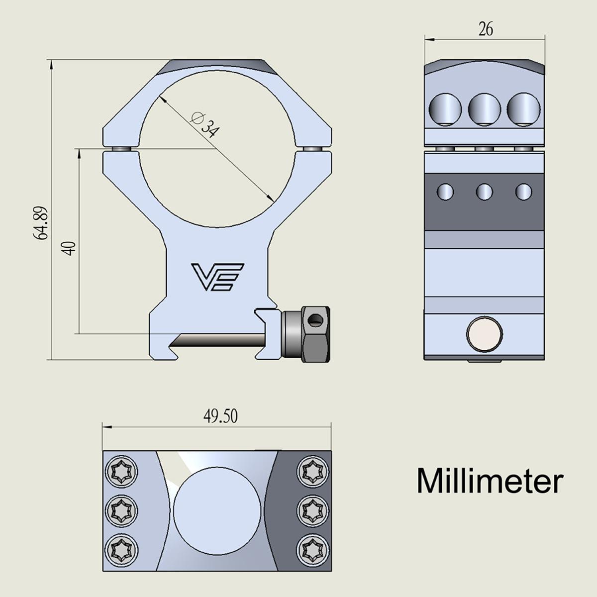 34mm X-Accu High Picatinny Rings Acom Diagram