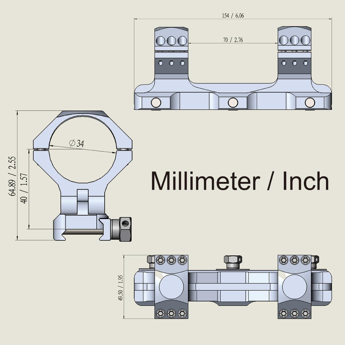 34mm X-Accu One Piece High Picatinny Mount Acom diagram