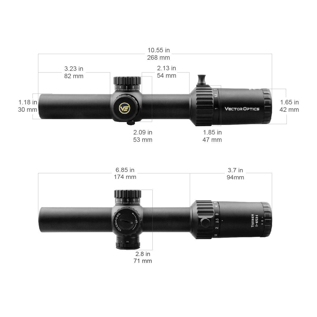 VO Taurus 1-6x24 Acom Size Diagram