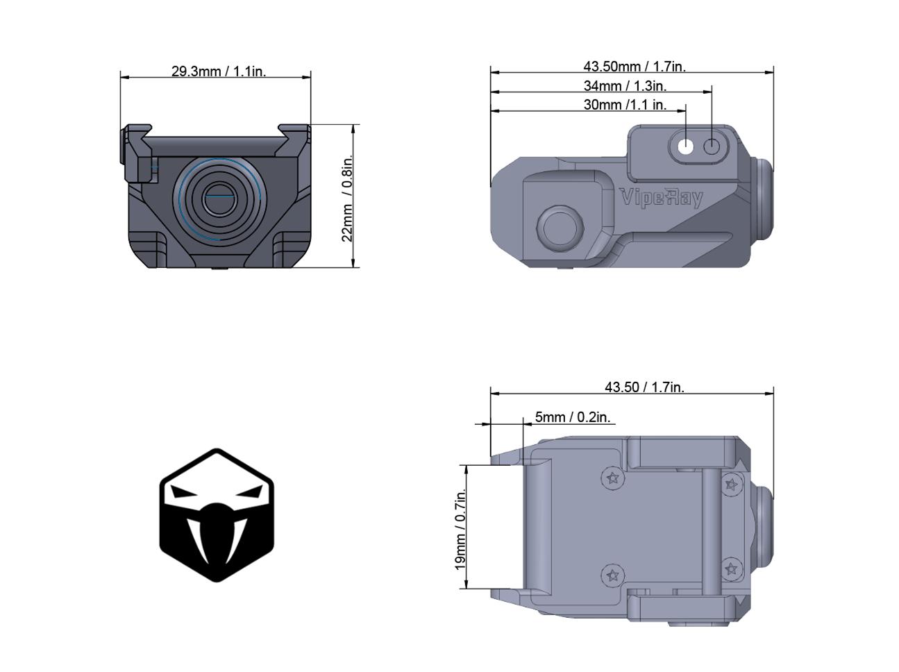 VRGL-P01 Pistol Green Laser Diagram Acom