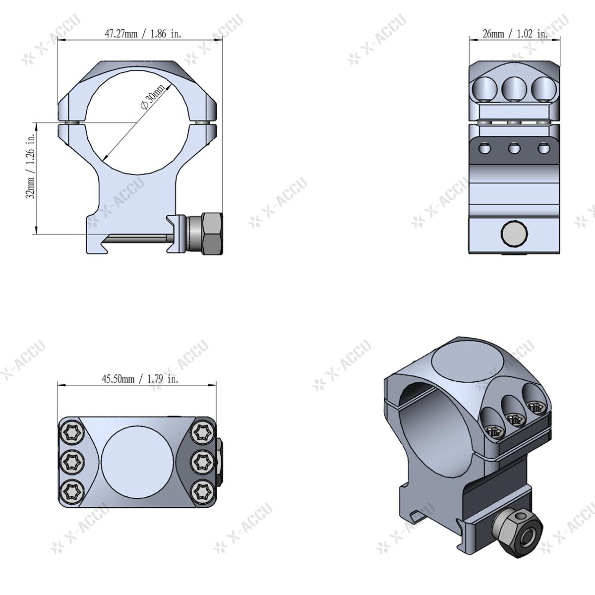 X-Accu XASR-3002 Scope Rings Acom
