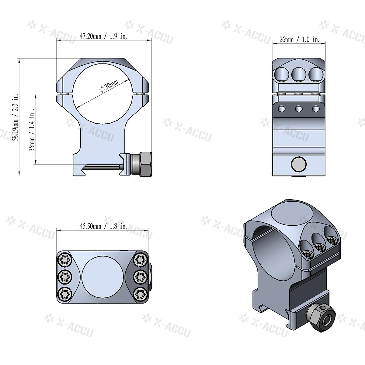 "30mm X-Accu 1.4"" Medium Profile Picatinny Scope Rings Parameter"