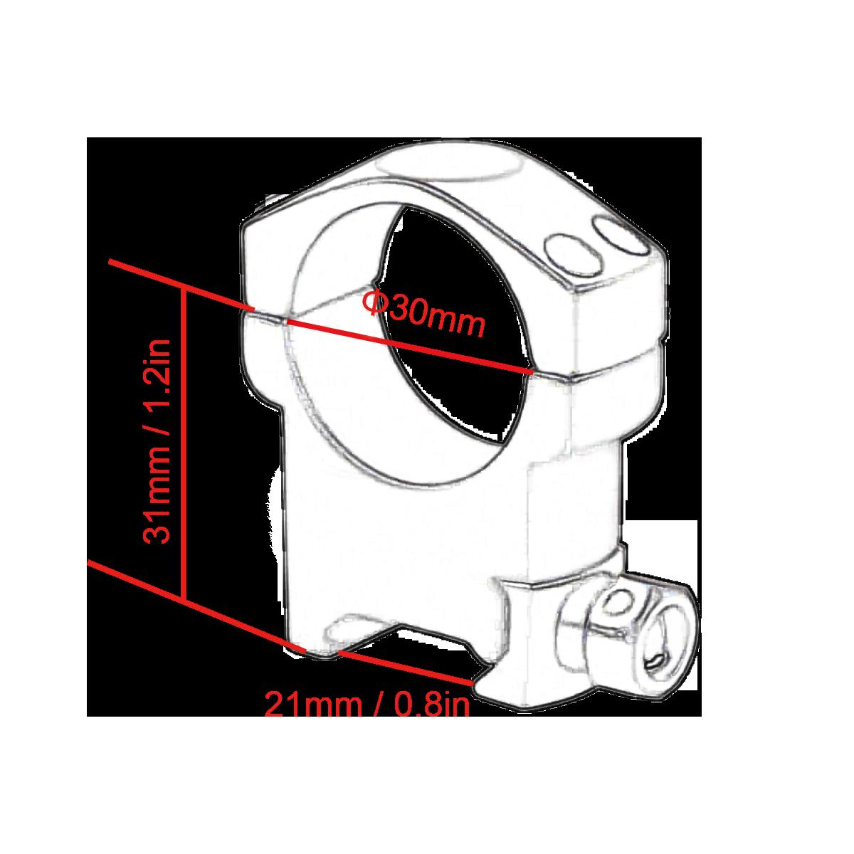 SCTM-08 30mm Mark High Profile Weaver Rings Diagram