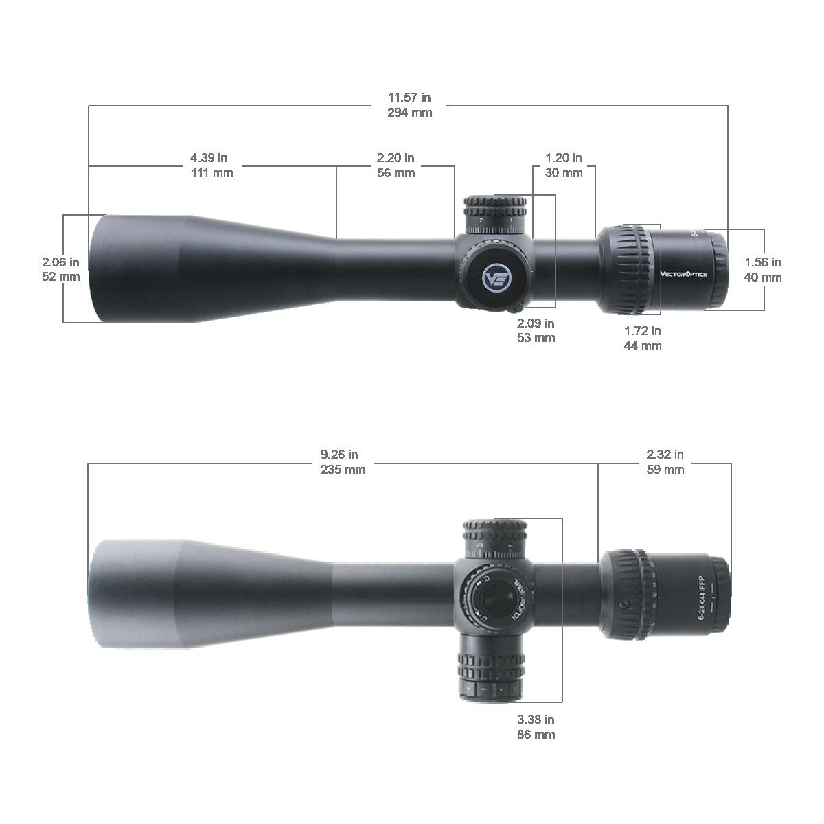 FF-37 Veyron 6-24x44IR FFP 尺寸图