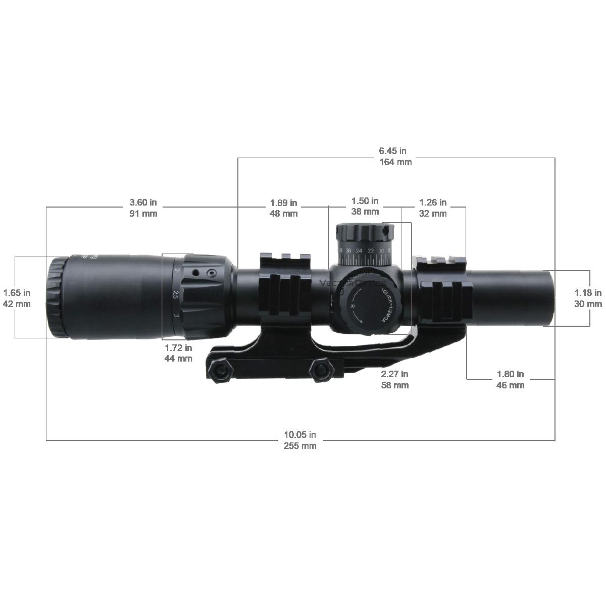 SCFF-36 Mustang 1-4x24 FFP Riflescope Dimensions (1)
